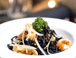 Deep Black Sea Spaghetti  At Café Kantary Bangsaen and Prachinburi