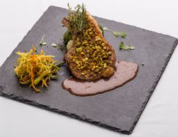 Pork Chop with Pistachio Crust and Red Wine Reduction  At No.43, Cape House, Bangkok
